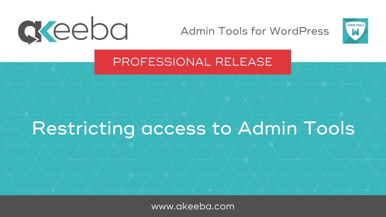 Protecting access to Admin Tools